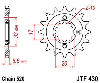 JTF430 Front Drive Motorcycle Sprocket 13 Teeth (JTF 430.13)