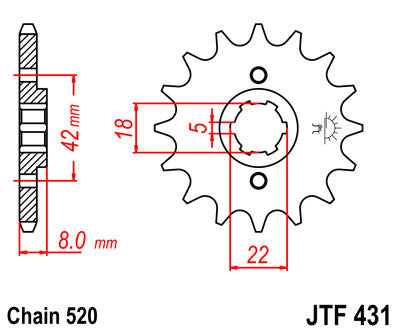 JTF431 Front Drive Motorcycle Sprocket 14 Teeth (JTF 431.14)