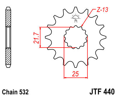 JTF440 Front Drive Motorcycle Sprocket 15 Teeth (JTF 440.15)