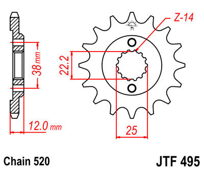 JTF495 Front Drive Motorcycle Sprocket 15 Teeth (JTF 495.15)