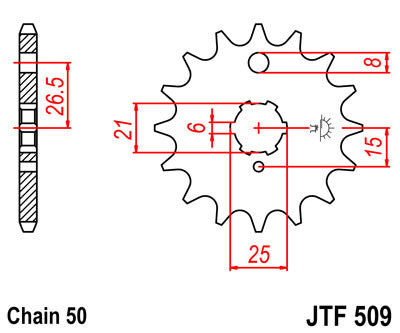 JTF509 Front Drive Motorcycle Sprocket 15 Teeth (JTF 509.15)