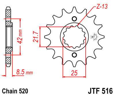 JTF516 Front Drive Motorcycle Sprocket 15 Teeth (JTF 516.15)