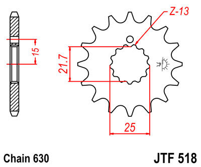 JTF518 Front Drive Motorcycle Sprocket 13 Teeth (JTF 518.13)