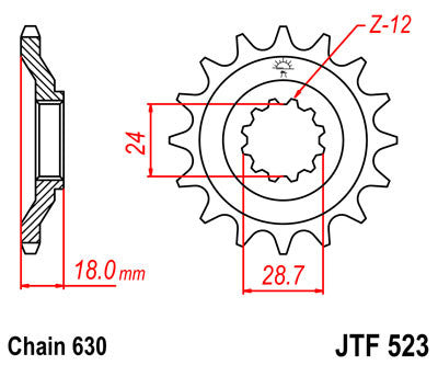 JTF523 Front Drive Motorcycle Sprocket 15 Teeth (JTF 523.15)
