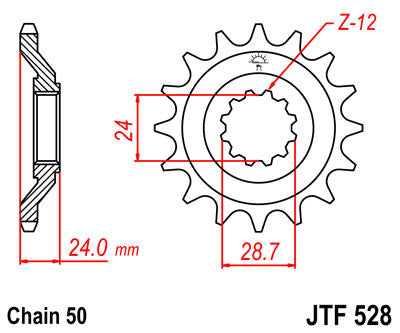 JTF528 Front Drive Motorcycle Sprocket 17 Teeth (JTF 528.17)