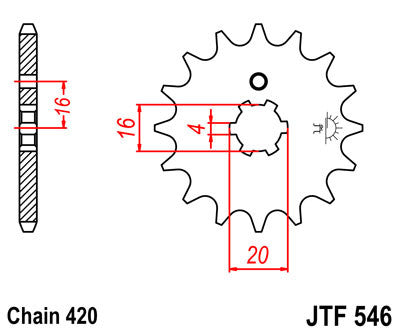 JTF546 Front Drive Motorcycle Sprocket 14 Teeth (JTF 546.14)