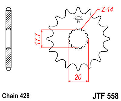 JTF558 Front Drive Motorcycle Sprocket 16 Teeth (JTF 558.16)