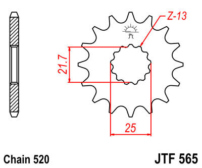 JTF565 Front Drive Motorcycle Sprocket 16 Teeth (JTF 565.16)