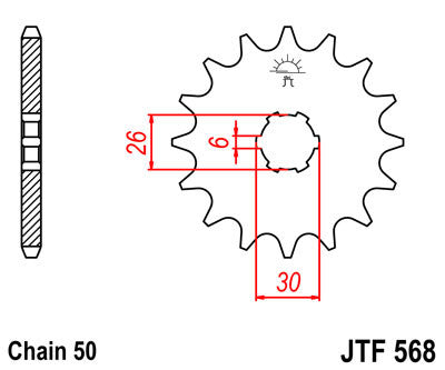 JTF568 Front Drive Motorcycle Sprocket 16 Teeth (JTF 568.16)