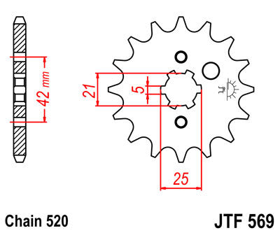 JTF569 Front Drive Motorcycle Sprocket 15 Teeth (JTF 569.15)
