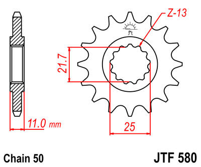 JTF580 Front Drive Motorcycle Sprocket 17 Teeth (JTF 580.17)