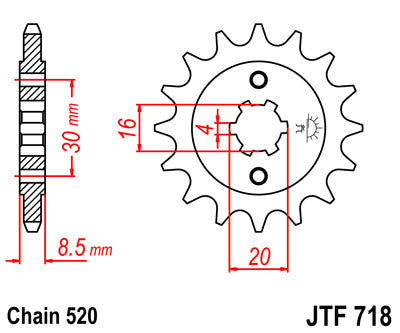 JTF718 Front Drive Motorcycle Sprocket 13 Teeth (JTF 718.13)