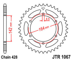 Rear Motorcycle Sprocket for Hyosung_GT125 Comet_09, Hyosung_GT125 Naked_03-08, Hyosung_GT125 R Comet_09-12, Hyosung_GT125 R EFI_12, Hyosung_GT125 R Supersport_06-08, Hyosung_GT125_10-12