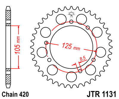 JTR1131 Rear Drive Motorcycle Sprocket 53 Teeth (JTR 1131.53)