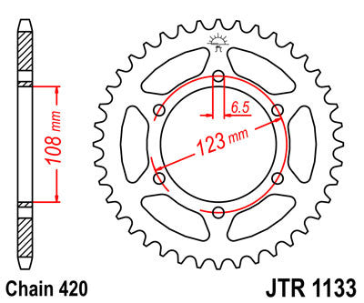 JTR1133 Rear Drive Motorcycle Sprocket 53 Teeth (JTR 1133.53)
