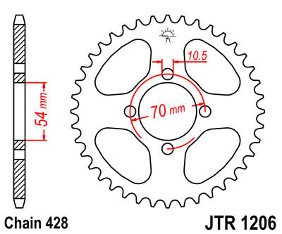 JTR1206 Rear Drive Motorcycle Sprocket 42 Teeth (JTR 1206.42)