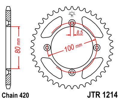 JTR1214 Rear Drive Motorcycle Sprocket 47 Teeth (JTR 1214.47)