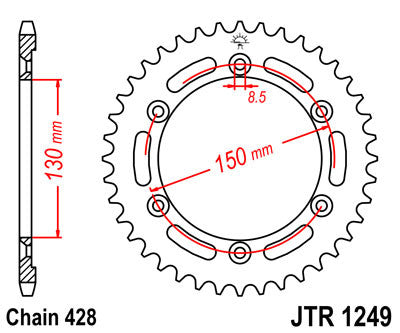 JTR1249 Rear Drive Motorcycle Sprocket 51 Teeth (JTR 1249.51)