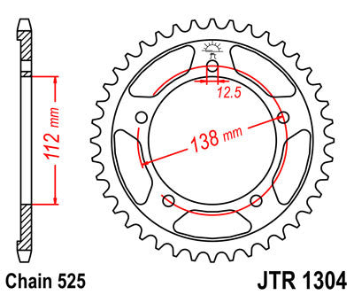 JTR1304 Rear Drive Motorcycle Sprocket 47 Teeth (JTR 1304.47)