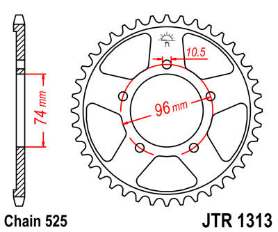 JTR1313 Rear Drive Motorcycle Sprocket 40 Teeth (JTR 1313.40)