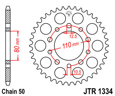 JTR1334 Rear Drive Motorcycle Sprocket 42 Teeth (JTR 1334.42)