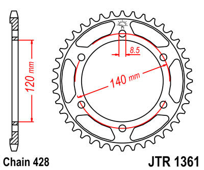 JTR1361 Rear Drive Motorcycle Sprocket 50 Teeth (JTR 1361.50)