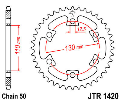 JTR1420 Rear Drive Motorcycle Sprocket 40 Teeth (JTR 1420.40)