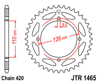 JTR1465 Rear Drive Motorcycle Sprocket 46 Teeth (JTR 1465.46)