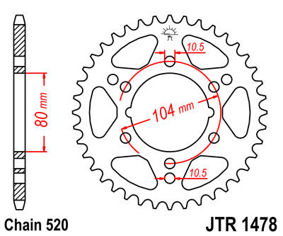 JTR1478 Rear Drive Motorcycle Sprocket 40 Teeth (JTR 1478.40)