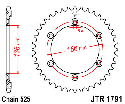 JTR1791 Rear Drive Motorcycle Sprocket 43 Teeth (JTR 1791.43)