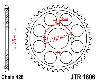 JTR1806 Rear Drive Motorcycle Sprocket 56 Teeth (JTR 1806.56)