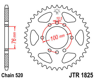 JTR1825 Rear Drive Motorcycle Sprocket 45 Teeth (JTR 1825.45)