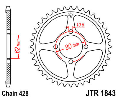 JTR1843 Rear Drive Motorcycle Sprocket 49 Teeth (JTR 1843.49)