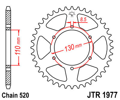 JTR1977 Rear Drive Motorcycle Sprocket 48 Teeth (JTR 1977.48)