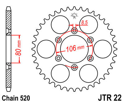 JTR22 Rear Drive Motorcycle Sprocket 45 Teeth (JTR 22.45)