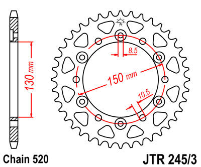 JTR245/3 Rear Drive Motorcycle Sprocket 45 Teeth (JTR 245/3.45)