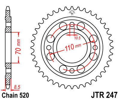 JTR247 Rear Drive Motorcycle Sprocket 36 Teeth (JTR 247.36)