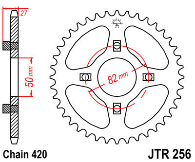 JTR256 Rear Drive Motorcycle Sprocket 38 Teeth (JTR 256.38)