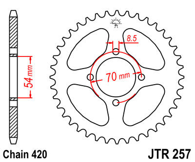 JTR257 Rear Drive Motorcycle Sprocket 39 Teeth (JTR 257.39)