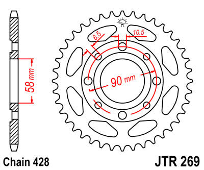 JTR269 Rear Drive Motorcycle Sprocket 47 Teeth (JTR 269.47)