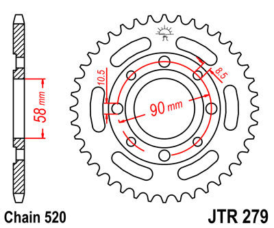 JTR279 Rear Drive Motorcycle Sprocket 32 Teeth (JTR 279.32)