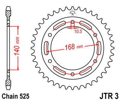 JTR3 Rear Drive Motorcycle Sprocket 41 Teeth (JTR 3.41)