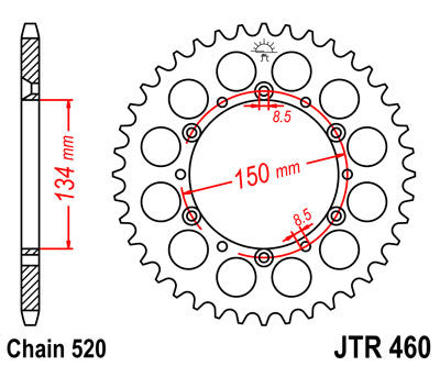 JTR460 Rear Drive Motorcycle Sprocket 48 Teeth (JTR 460.48)