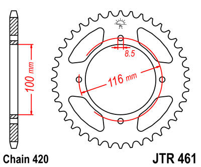 JTR461 Rear Drive Motorcycle Sprocket 48 Teeth (JTR 461.48)