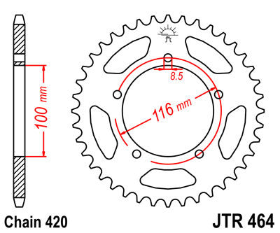 JTR464 Rear Drive Motorcycle Sprocket 50 Teeth (JTR 464.50)