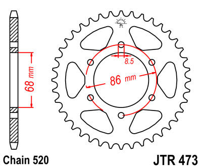 JTR473 Rear Drive Motorcycle Sprocket 40 Teeth (JTR 473.40)