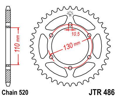 JTR486 Rear Drive Motorcycle Sprocket 43 Teeth (JTR 486.43)