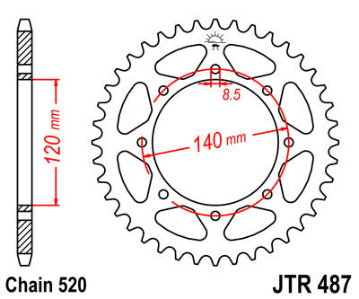 JTR487 Rear Drive Motorcycle Sprocket 38 Teeth (JTR 487.38)