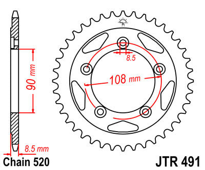 JTR491 Rear Drive Motorcycle Sprocket 38 Teeth (JTR 491.38)