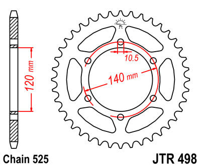 JTR498 Rear Drive Motorcycle Sprocket 40 Teeth (JTR 498.40)